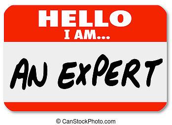 expertis, etikett, nametag, hej, specialist
