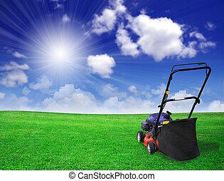 fält, gräsmatta, grön, slåttermaskin