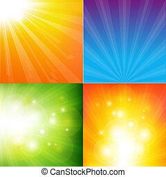 färg, abstrakt, bakgrund, sunburst