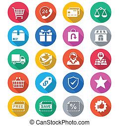 färg, e-commerce, lägenhet, ikonen