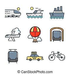 färg, sätta, transport, ikon