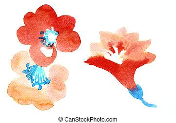 färg, vattenfärg, blomningen, illustration, paintings