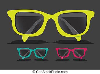 färgad, glasögon