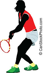 färgad, man, vektor, player., tennis