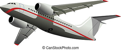 färgad, vect, passenger, airplanes.