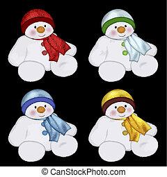 färgglatt, snowmen