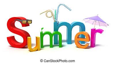 färgglatt, sommar, ord, breven