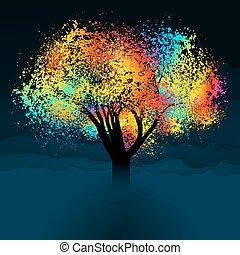 färgrik, abstrakt, eps, space., träd., 8, avskrift