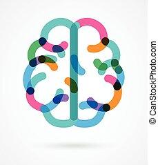 färgrik, illustration, -, hjärna, vektor