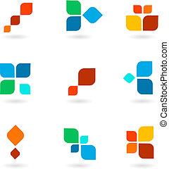 färgrik, symboler, illustration, sätta, vektor, sex