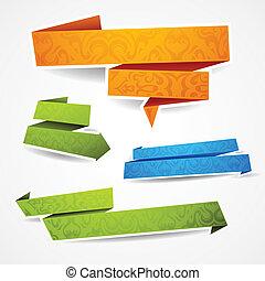 färgrik, text, baner, papper, dekorerat, din