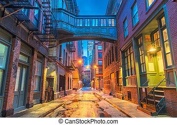 färsk, alleyways, york, stad