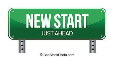 färsk, gata, start, underteckna