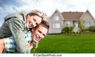 färsk, house., familj, lycklig