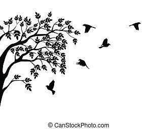 fågel flygande, silhuett, träd