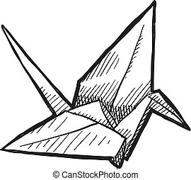 fågel, origami, skiss