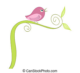 fågel, söt, sjungande