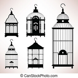 fågelbur, bur, retro, årgång, fågel