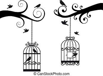 fågelbur, fåglar, vektor