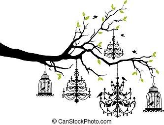 fågelbur, ljuskrona, träd
