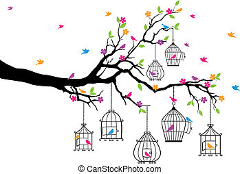 fågelburar, träd, fåglar