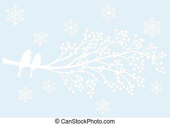 fåglar, bär, träd vinter
