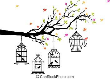fåglar, gratis, vektor, fågelburar