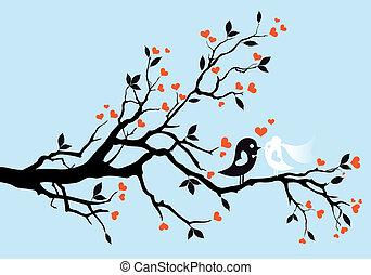 fåglar, vektor, bröllop