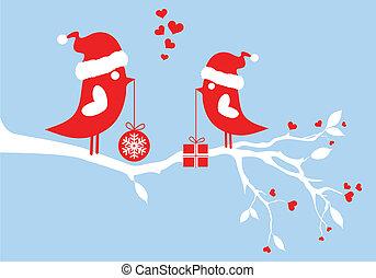 fåglar, vektor, jultomten