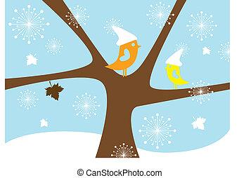 fåglar, vektor, vinter