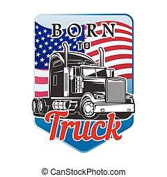 född, transport, lastbil, logo, vektor, design.