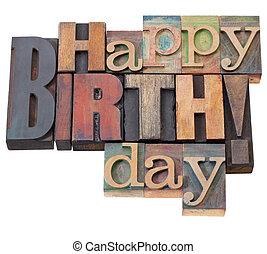 födelsedag, typ, boktryck, lycklig