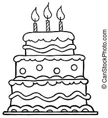 födelsedagstårta, skissera