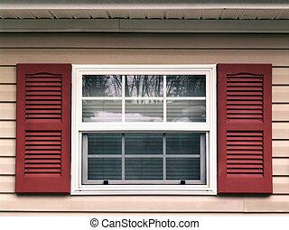 fönster, stänger med fönsterluckor