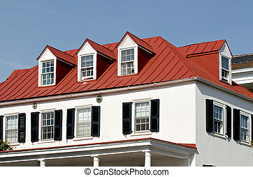 fönstren, hus, röd, tak, vindskupefönster