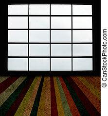 fönstren, stor, grunge, planka golvbeläggning