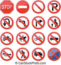 förbjuden, stoppa vägmärket