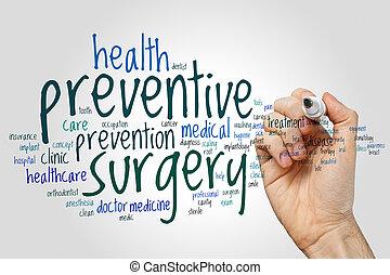 förebyggande, ord, kirurgi, moln