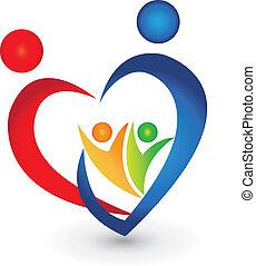 förening, hjärta gestalta, familj, logo