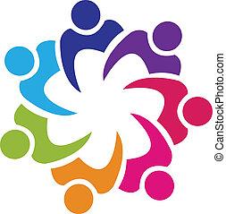 förening, logo, vektor, teamwork, folk
