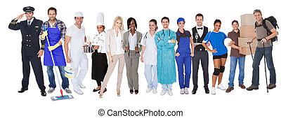 föreställa, professionsen, mångfaldig, grupp, folk