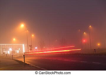 förhållande, rakt, drivande, dimma, dålig