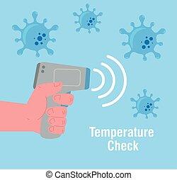 förhindrande, non, temperatur, kropp, sjukdom, kontakta, termometer, infraröd, medicinsk, 2019, coronavirus, mätning, termometer, digital, ncov