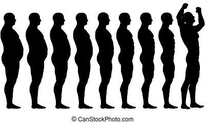 förlust, vikt, lämplig, framgång, efter, kost, fett, för