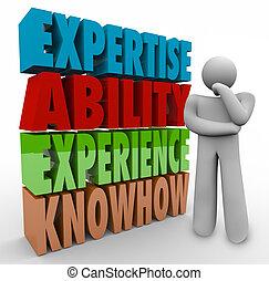 förmåga, knowhow, kvalifikationen, tänkare, erfarenhet, jobb, expertis, criteria