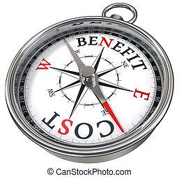 förmån, begrepp, kosta, kompass
