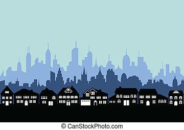 förort, urban, stad