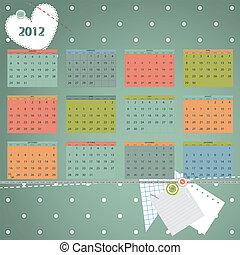 första, söndag, dag, 2012, början, year., kalender, vecka