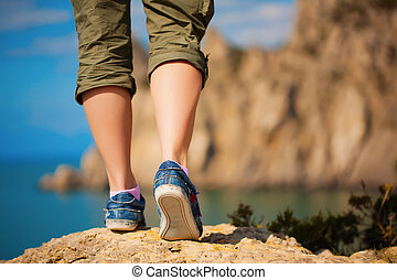 fötter, tennisskor, kvinnlig, tourism.