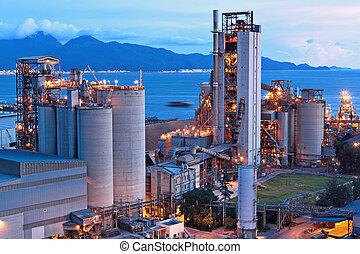 fabrik, cement, natt